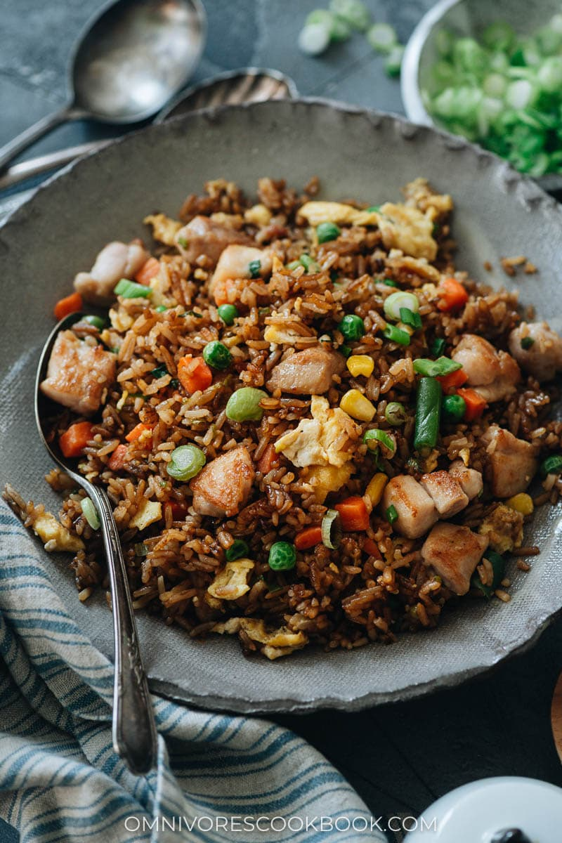 Takeout-style fried rice with chicken and veggies
