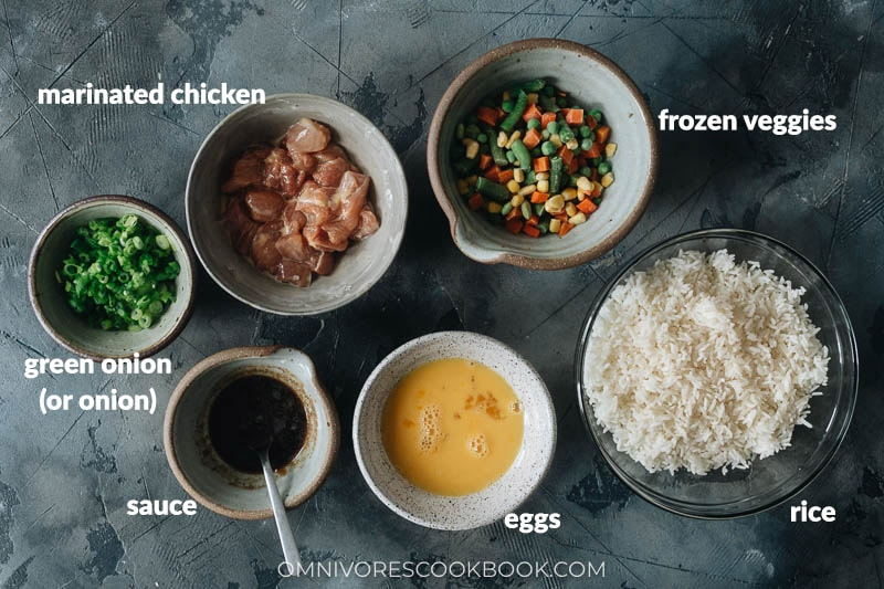 Ingredients for making chicken fried rice