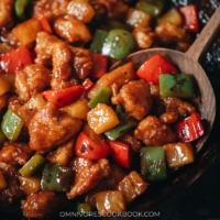 Colorful pantry staples come together to make this aromatic and flavorful pineapple chicken that has the perfect balance of sweet and sour to brighten your day! Serve it with steamed rice to make a nutritious one-bowl meal. {Gluten-Free Adaptable}