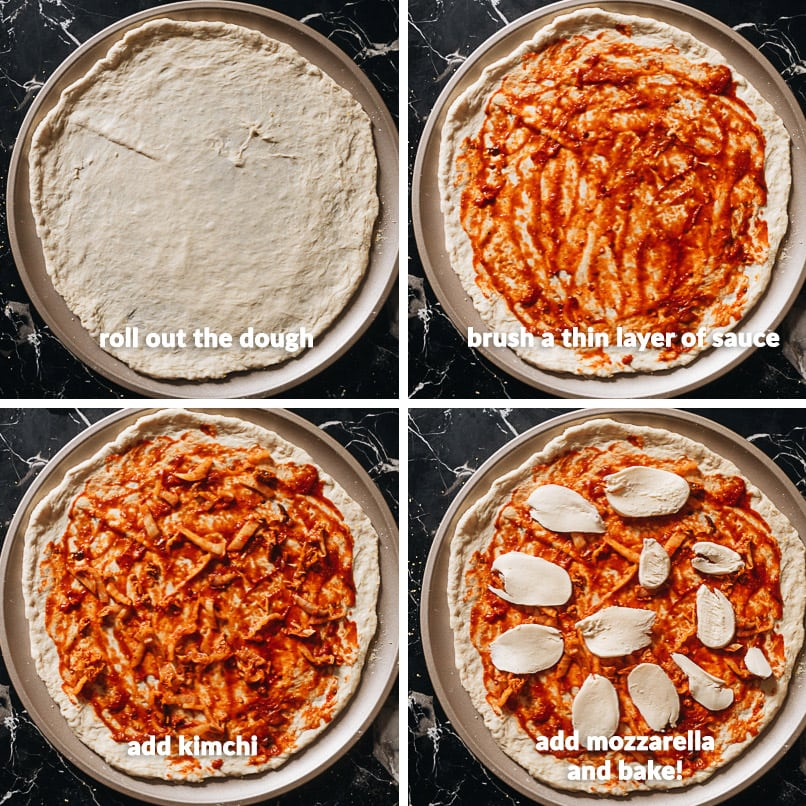 Making kimchi pizza step-by-step