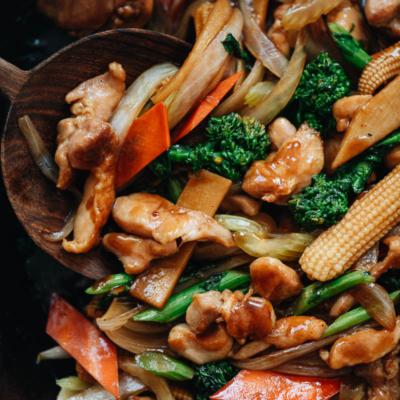 Chicken chop suey close-up