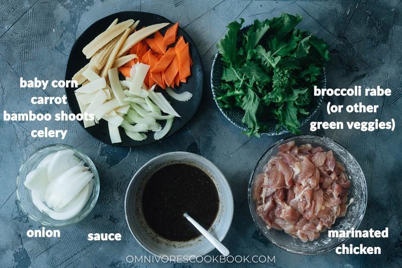 Ingredients for making chicken chop suey