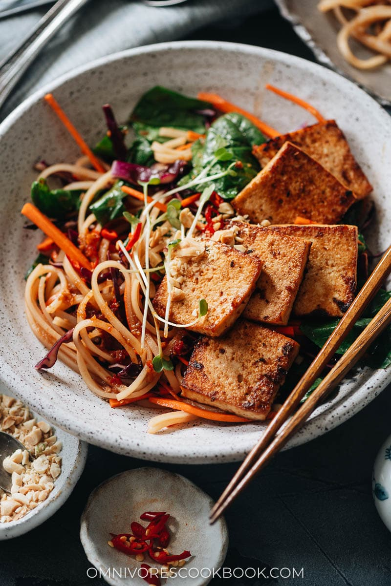 Spicy rice noodle salad topped with tofu
