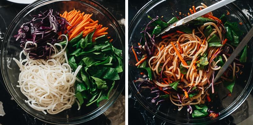Mixing noodle salad