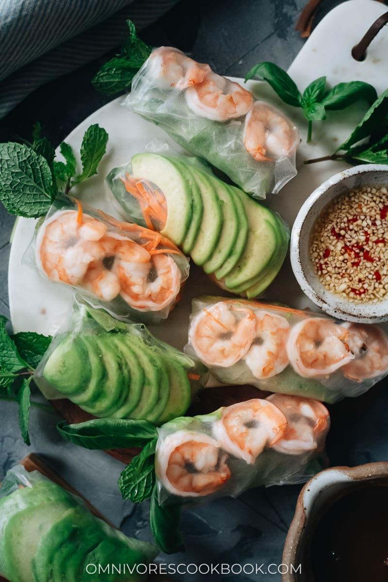 Homemade rice paper rolls with avocado and shrimp