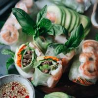 Fresh spring rolls with avocado and shrimp