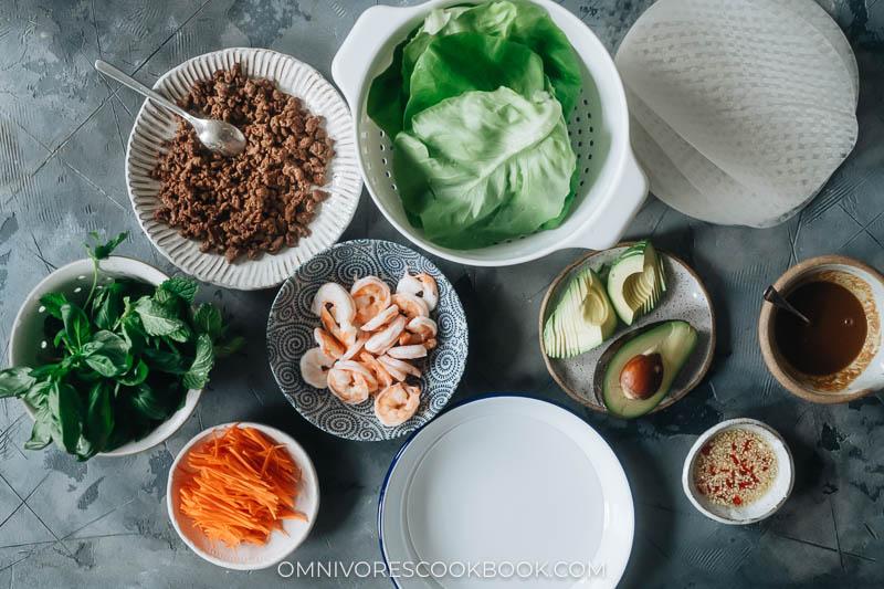 Ingredients for making fresh spring rolls