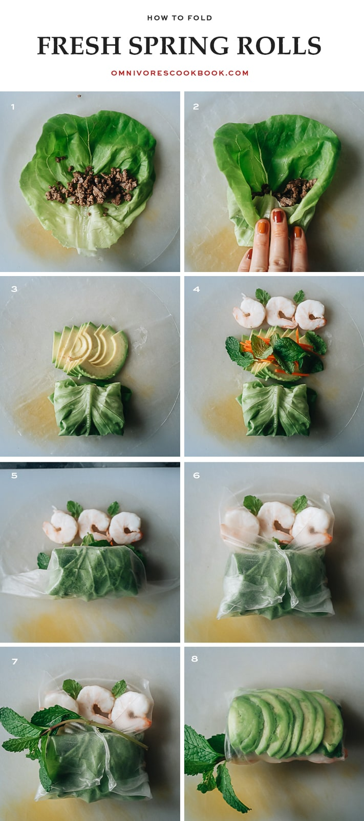 How to fold fresh spring rolls step-by-step