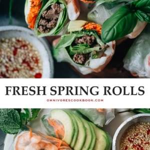 Delicious fresh spring rolls are a light and healthy dish that you'll have as much fun making as you will eating! The recipe includes shrimp and ground meat, but you can choose to use one protein or even skip the protein to make it vegetarian. It comes with two sauces - a peanut butter sauce and a Vietnamese dipping sauce. {Gluten-Free adaptable}