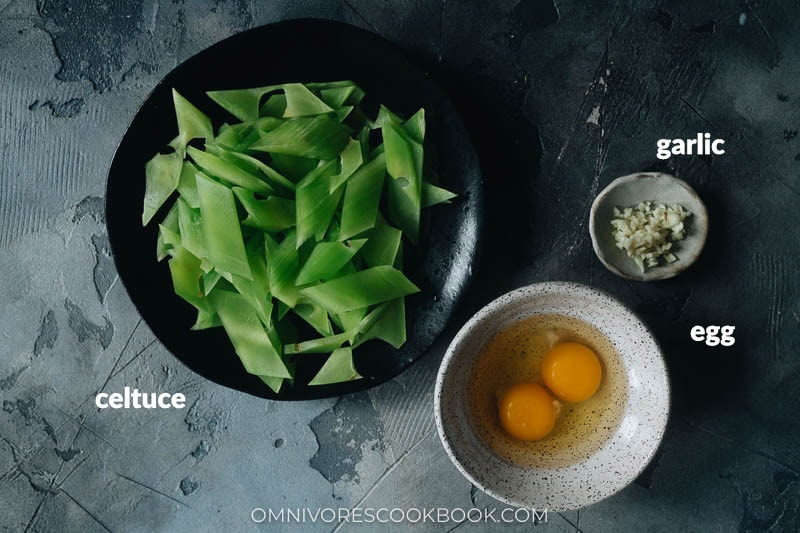 Ingredients for making celtuce stir fry with eggs
