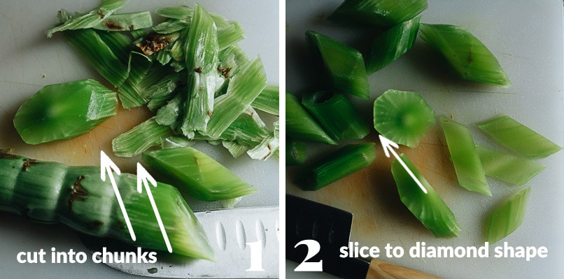 How to cut celtuce for stir fry