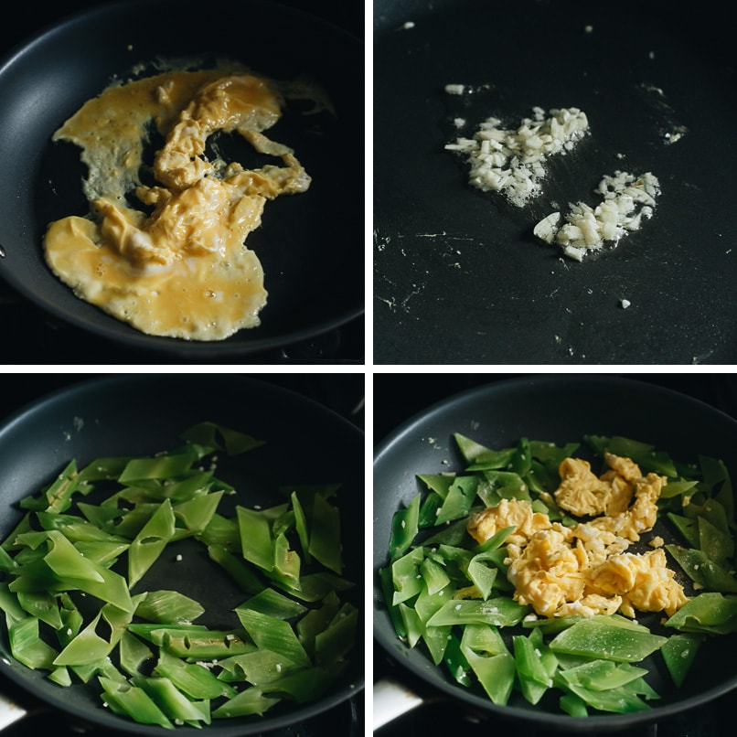 Celtuce stir fry with eggs cooking step-by-step