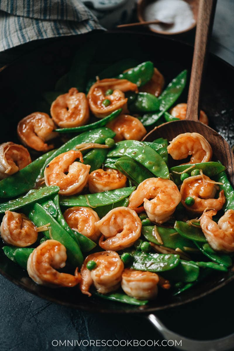 Chinese shrimp and snow peas