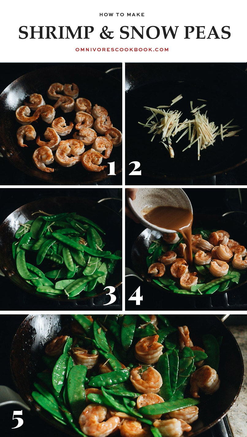 Cooking shrimp with snow peas step-by-step