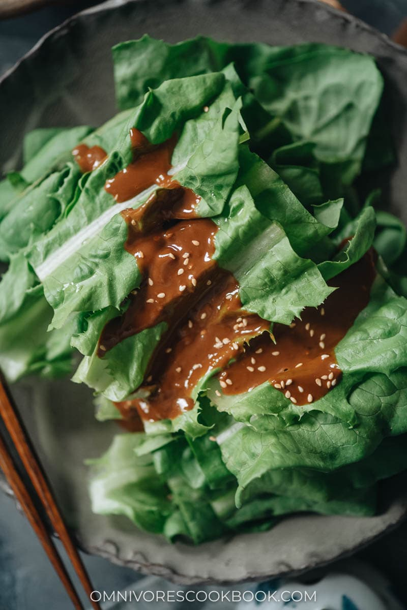 Celtuce leaves salad close-up