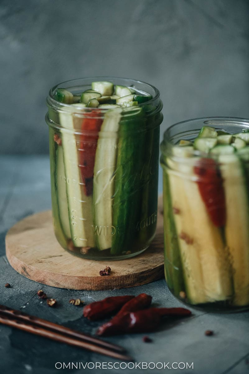 Homemade pickled cucumber close up