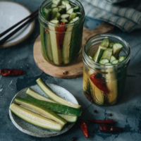 Chinese pickled cucumbers add a refreshing taste to any meal, are great as a snack all on their own, and can be ready overnight! {Vegan, Gluten-Free adaptable}