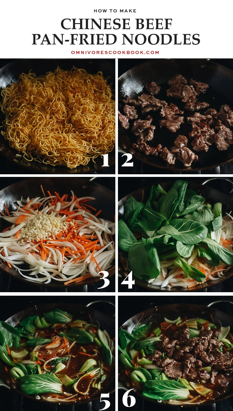 Beef pan fried noodles cooking step-by-step