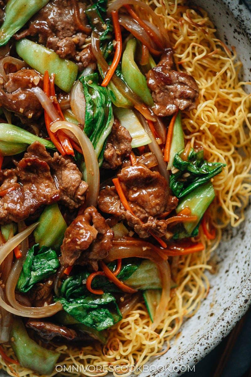 Hong Kong beef pan fried noodles close-up