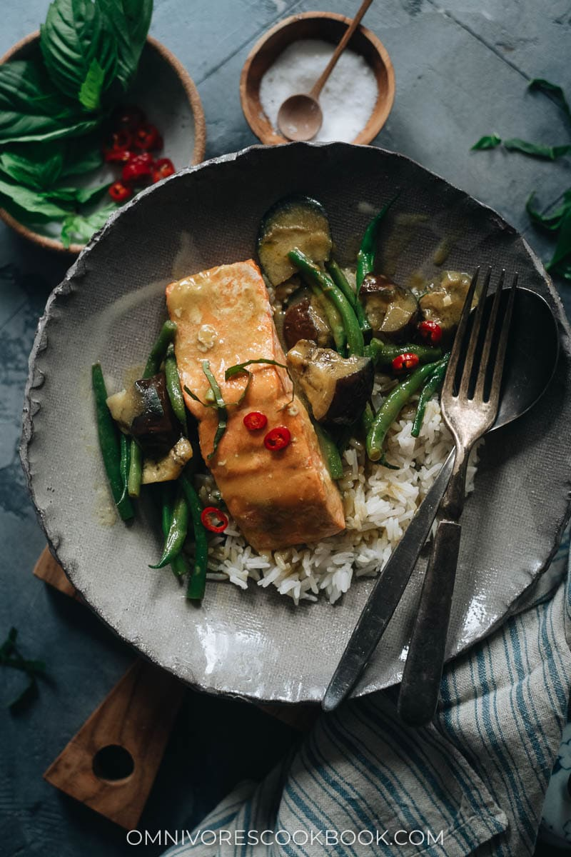 Thai salmon with curry served over rice
