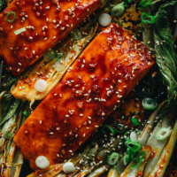 Salmon glazed with sweet and sour sauce