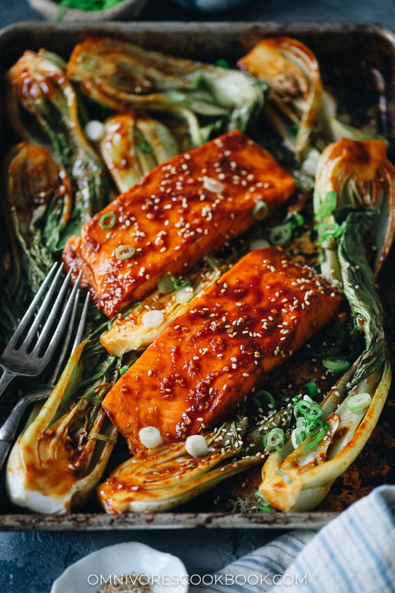 Sweet and sour salmon with bok choy in a sheet pan