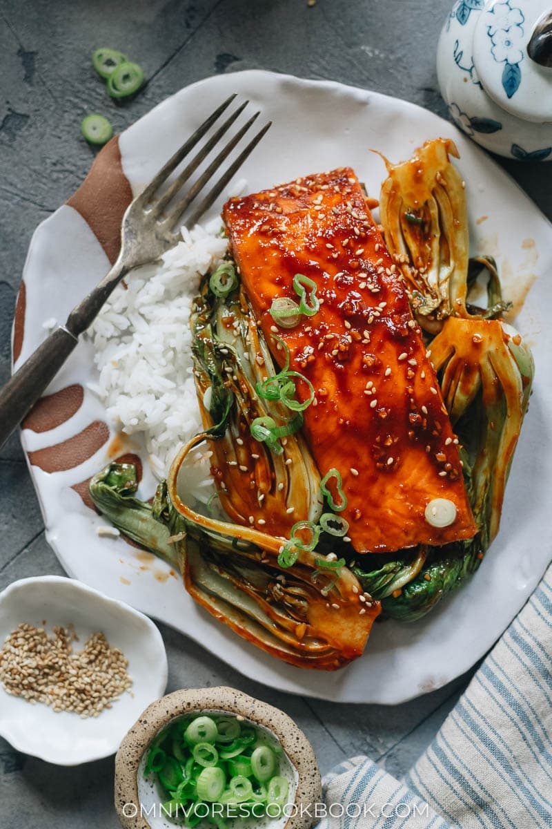 Sweet and sour salmon served with rice and bok choy