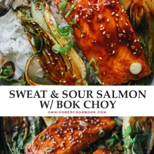 This super-simple sheet pan dinner of salmon bok choy is healthful and delicious for an impressive dish to serve guests or a good-for-you meal that's ready super-fast! {Gluten-Free adaptable}