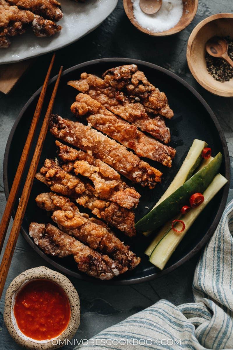 Sliced Chinese fried pork chops