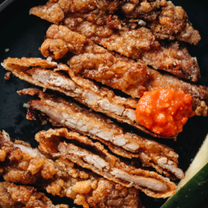 Chinese fried pork chops close up