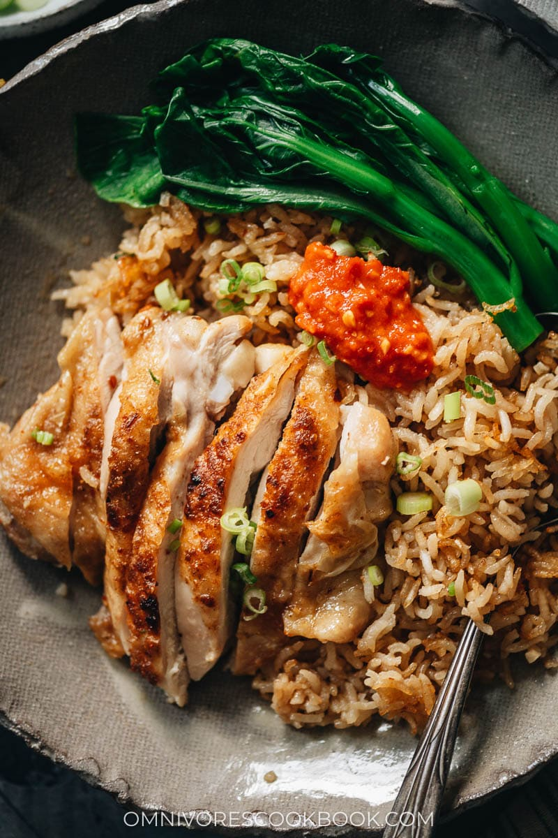 Chinese chicken and rice close-up
