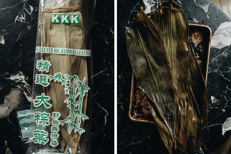 Dried and soaked bamboo leaves for making zongzi
