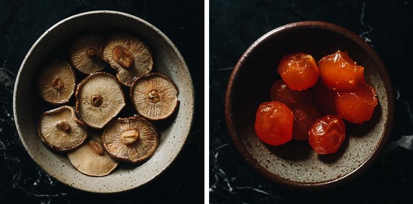 Shiitake mushrooms and salty duck egg yolks