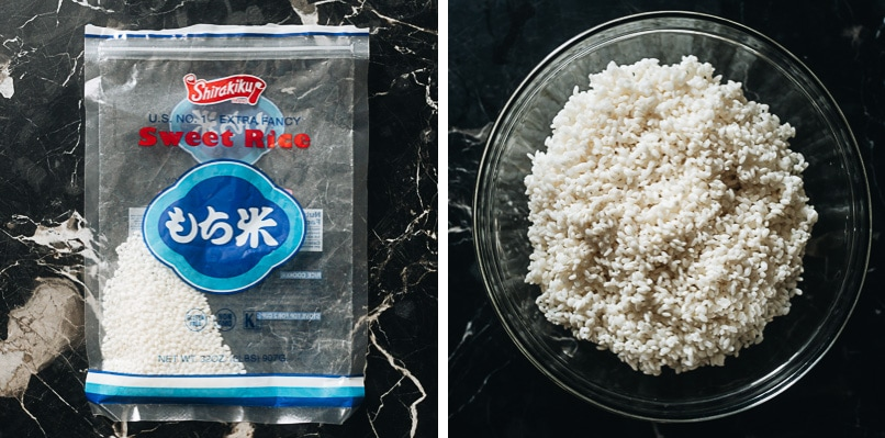 Packaged and soaked sweet rice