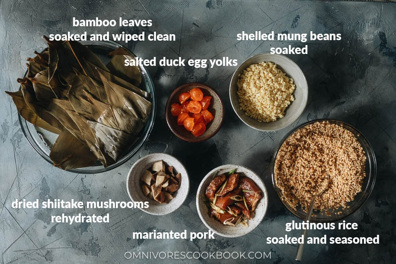Ingredients for making pork zongzi