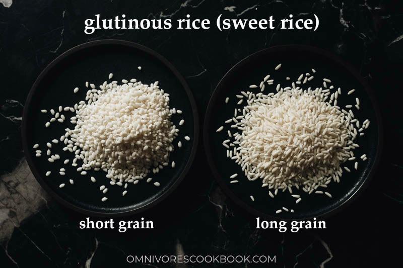Short grain and long grain sweet rice