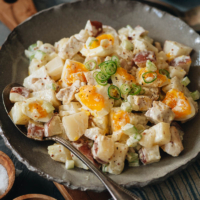 Creamy potato salad with soft boiled eggs