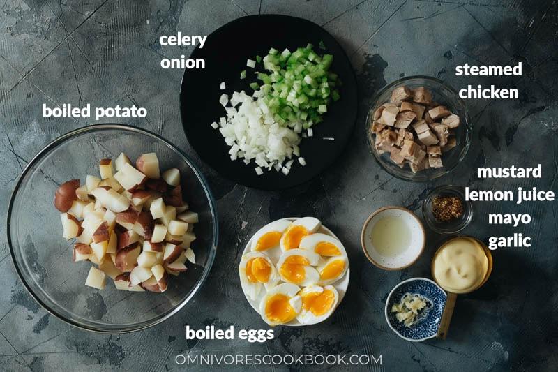 Ingredients for making chicken potato salad