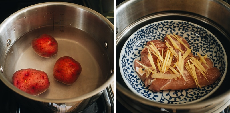 Boil potato and steam chicken in one pot