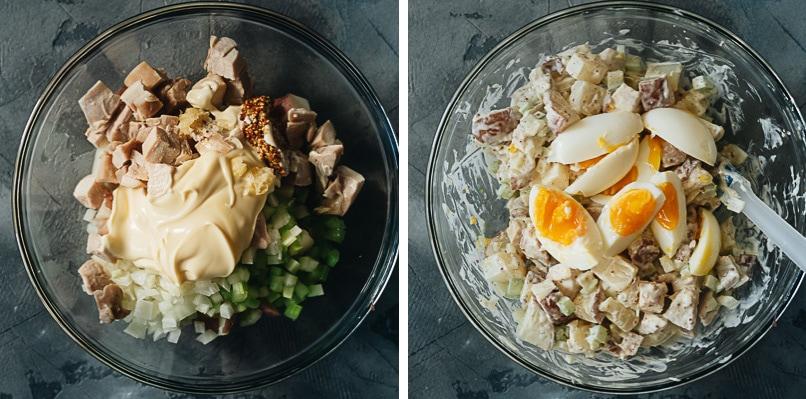 Mixing chicken potato salad