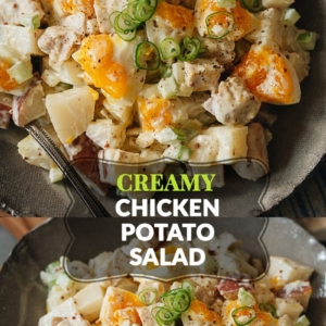 Turn any meal into a picnic with this creamy chicken potato salad. It's loaded with chunks of tender potatoes, flavorful chicken, and soft-boiled eggs for a rich side! {Gluten-Free}