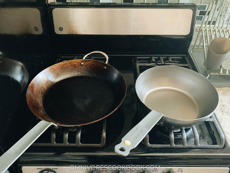 "Debuyer 12.5"" fry pan and 9"" fry pan"