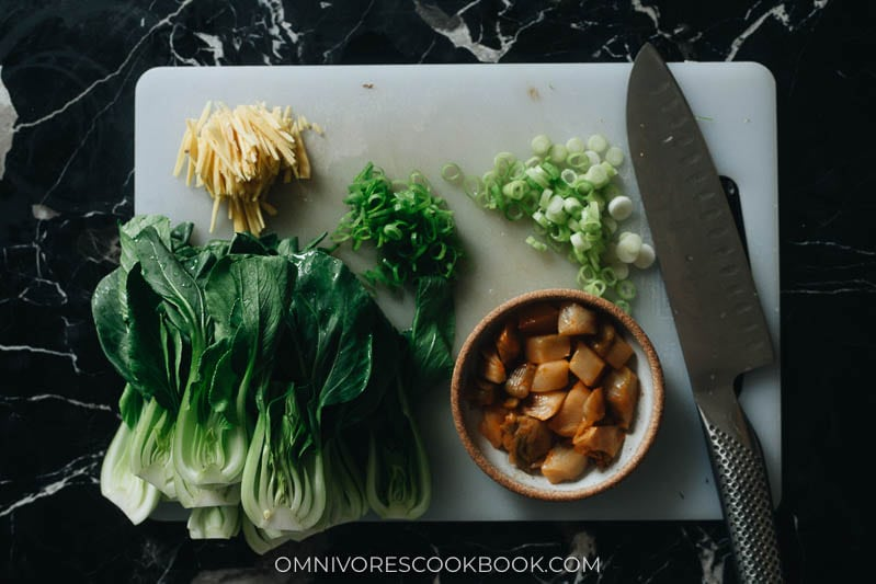 Ingredients for making bok choy soup
