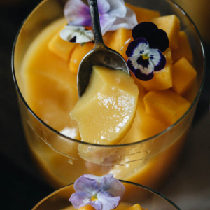 Texture of vegan mango pudding