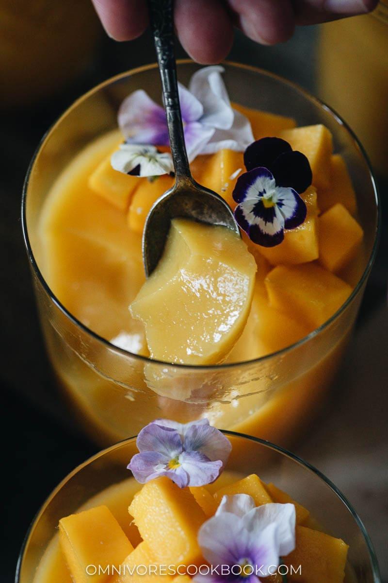 Texture of vegan mango pudding