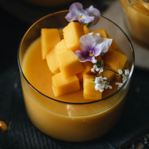 Finish any summer evening with this light, refreshing, and absolutely delicious guilt-free mango pudding dessert. {Gluten-Free, Vegan}