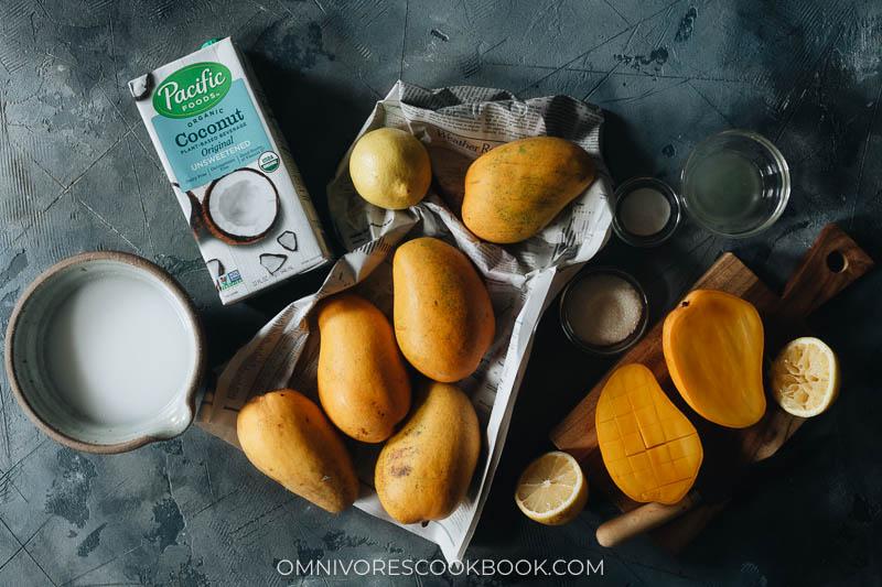 Ingredients for making vegan mango puddings