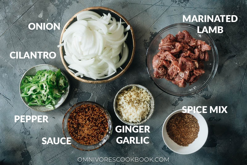 Ingredients for making cumin lamb noodles