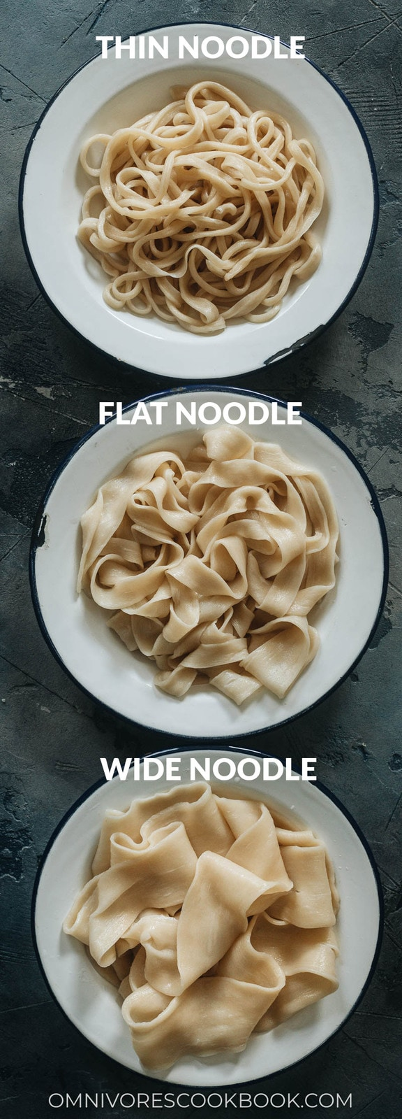 Three types of hand-pulled noodles