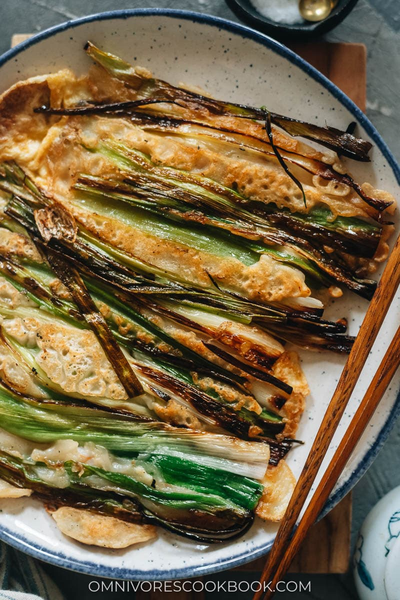Korean scallion pancakes closeup
